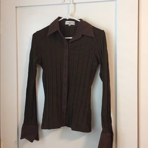 Anne Fontaine stretchy brown shirt size 6